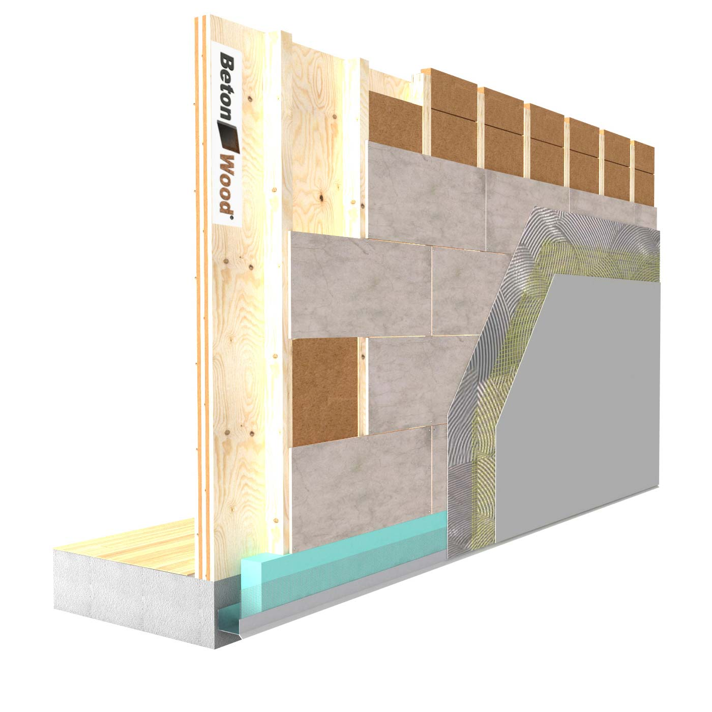 External insulation system with Protect wood fiber on wooden walls