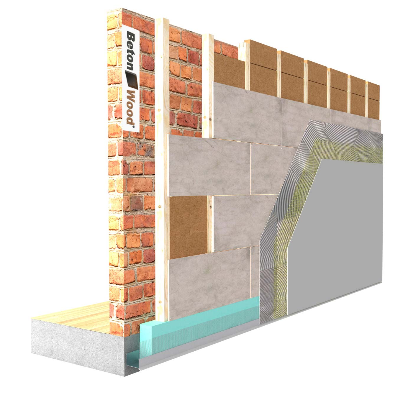 External insulation system with Protect wood fiber on masonry