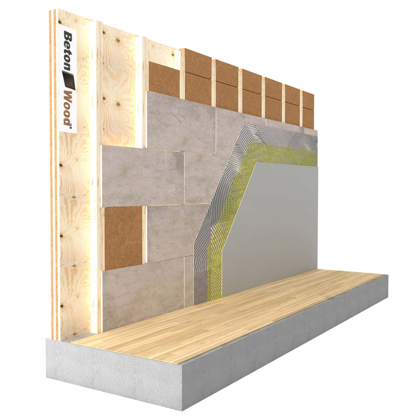 Internal insulation system in Protect Wood fiber and cement bonded particle board