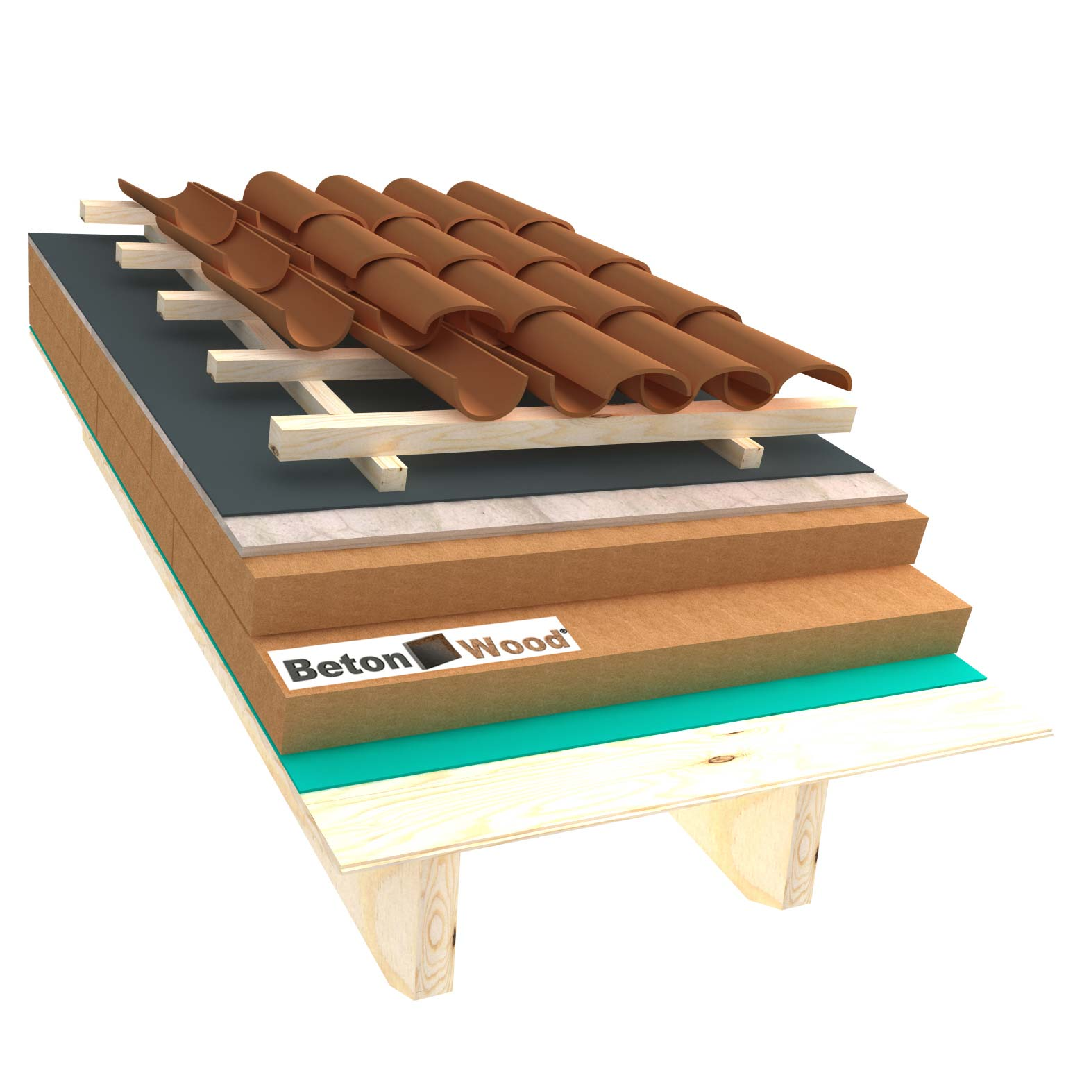 Ventilated roof with wood fiber Therm and cement bonded particle boards on matchboarding