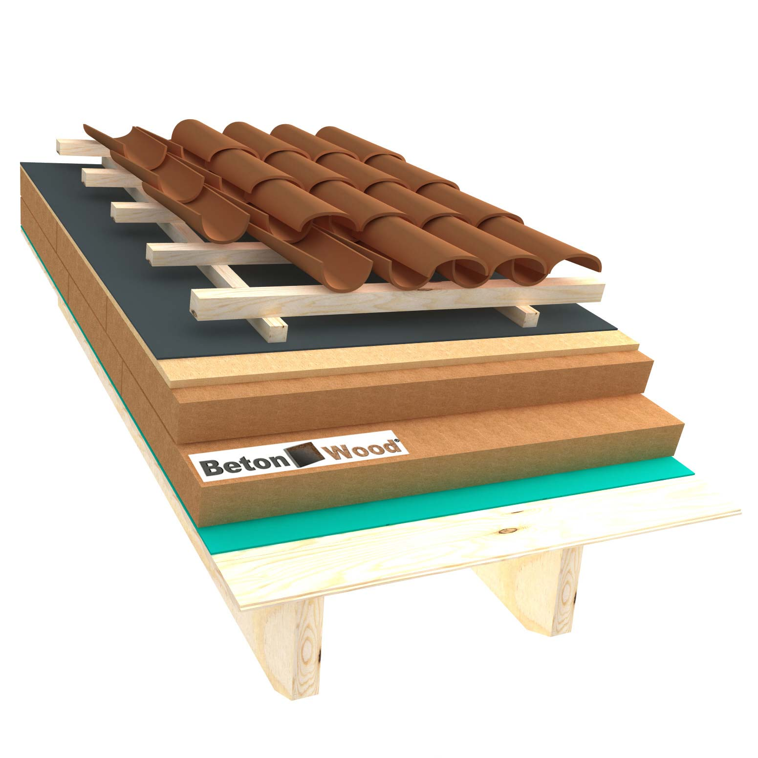 Ventilated roof with wood fiber Isorel and Therm on matchboarding