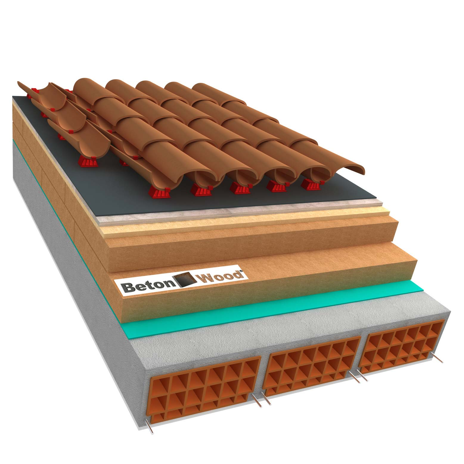 Ventilated roof with wood fiber Isorel, Therm and cement bonded particle boards on concrete