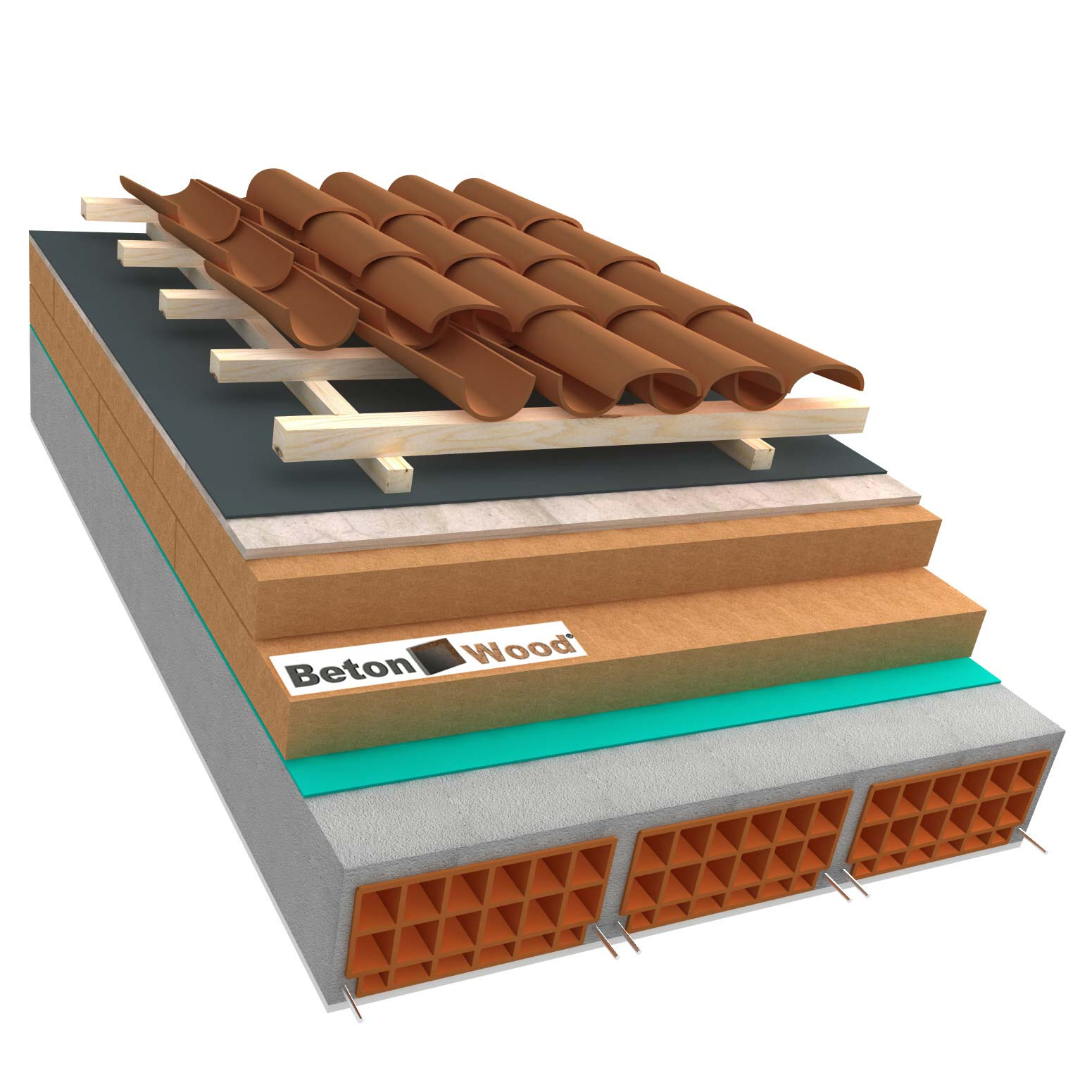 Ventilated roof with wood fiber Therm and cement bonded particle boards on concrete
