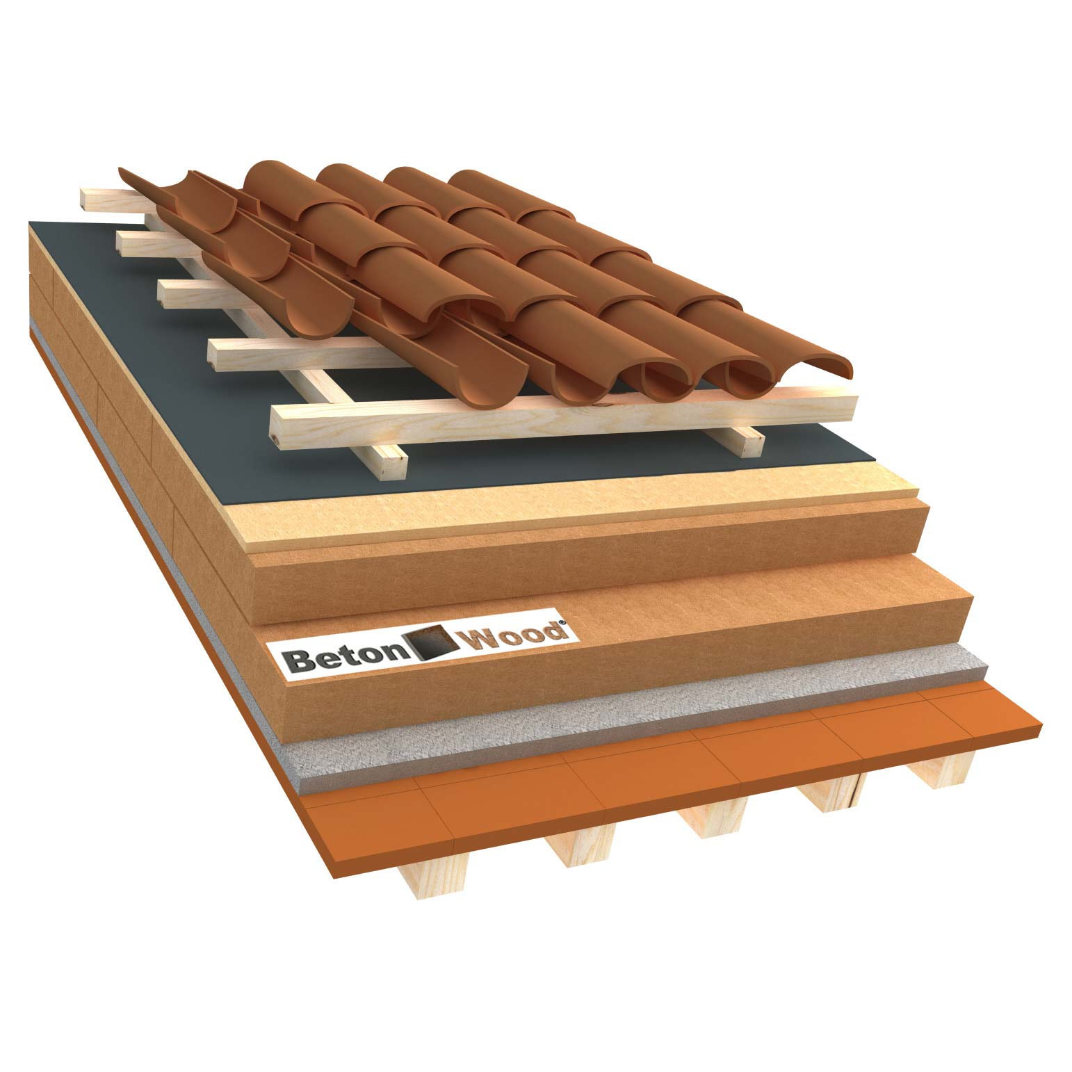 Ventilated roof with wood fiber Isorel and Therm on terracotta tiles